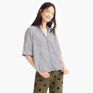 J.Crew Short Sleeve Striped Button Up Shirt Medium